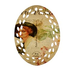 Lady On Vintage Postcard Vintage Floral French Postcard With Face Of Glamorous Woman Illustration Oval Filigree Ornament (two Sides) by Simbadda