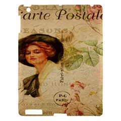 Lady On Vintage Postcard Vintage Floral French Postcard With Face Of Glamorous Woman Illustration Apple Ipad 3/4 Hardshell Case by Simbadda