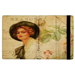 Lady On Vintage Postcard Vintage Floral French Postcard With Face Of Glamorous Woman Illustration Apple Ipad 2 Flip Case by Simbadda
