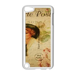 Lady On Vintage Postcard Vintage Floral French Postcard With Face Of Glamorous Woman Illustration Apple Ipod Touch 5 Case (white) by Simbadda