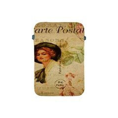 Lady On Vintage Postcard Vintage Floral French Postcard With Face Of Glamorous Woman Illustration Apple Ipad Mini Protective Soft Cases by Simbadda