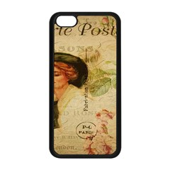 Lady On Vintage Postcard Vintage Floral French Postcard With Face Of Glamorous Woman Illustration Apple Iphone 5c Seamless Case (black) by Simbadda
