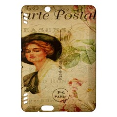 Lady On Vintage Postcard Vintage Floral French Postcard With Face Of Glamorous Woman Illustration Kindle Fire Hdx Hardshell Case by Simbadda