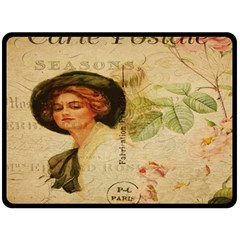 Lady On Vintage Postcard Vintage Floral French Postcard With Face Of Glamorous Woman Illustration Double Sided Fleece Blanket (large)  by Simbadda