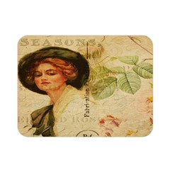 Lady On Vintage Postcard Vintage Floral French Postcard With Face Of Glamorous Woman Illustration Double Sided Flano Blanket (mini)  by Simbadda