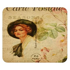 Lady On Vintage Postcard Vintage Floral French Postcard With Face Of Glamorous Woman Illustration Double Sided Flano Blanket (small)  by Simbadda