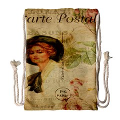 Lady On Vintage Postcard Vintage Floral French Postcard With Face Of Glamorous Woman Illustration Drawstring Bag (large) by Simbadda