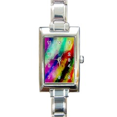 Colorful Abstract Paint Splats Background Rectangle Italian Charm Watch by Simbadda