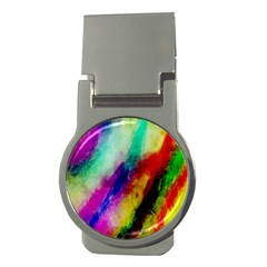 Colorful Abstract Paint Splats Background Money Clips (round)  by Simbadda