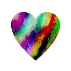 Colorful Abstract Paint Splats Background Heart Magnet by Simbadda