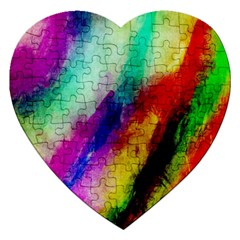 Colorful Abstract Paint Splats Background Jigsaw Puzzle (heart) by Simbadda