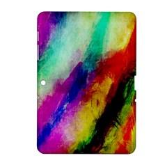 Colorful Abstract Paint Splats Background Samsung Galaxy Tab 2 (10 1 ) P5100 Hardshell Case  by Simbadda