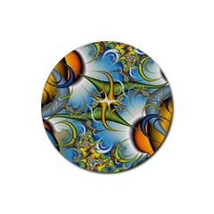 Random Fractal Background Image Rubber Round Coaster (4 Pack)  by Simbadda