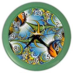 Random Fractal Background Image Color Wall Clocks by Simbadda