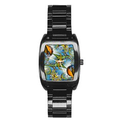 Random Fractal Background Image Stainless Steel Barrel Watch by Simbadda