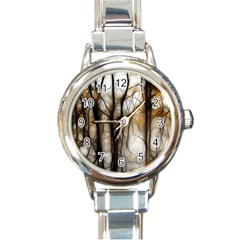 Fall Forest Artistic Background Round Italian Charm Watch by Simbadda