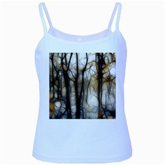 Fall Forest Artistic Background Baby Blue Spaghetti Tank