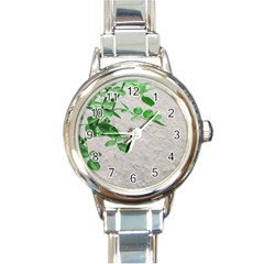 Plants Over Wall Round Italian Charm Watch by dflcprints