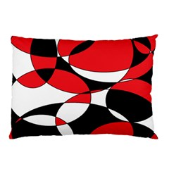 Black, White And Red Ellipticals Pillow Case (two Sides) by Khoncepts