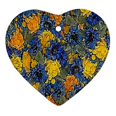 Floral Pattern Background Heart Ornament (two Sides) by Simbadda