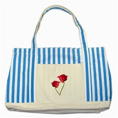 Red Roses Photo Striped Blue Tote Bag by dflcprints