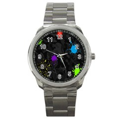 Black Camo Spot Green Red Yellow Blue Unifom Army Sport Metal Watch by Alisyart