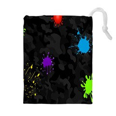 Black Camo Spot Green Red Yellow Blue Unifom Army Drawstring Pouches (extra Large) by Alisyart