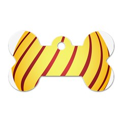 Yellow Striped Easter Egg Gold Dog Tag Bone (two Sides) by Alisyart