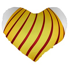 Yellow Striped Easter Egg Gold Large 19  Premium Heart Shape Cushions by Alisyart