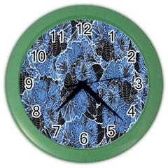 Floral Pattern Background Seamless Color Wall Clocks by Simbadda