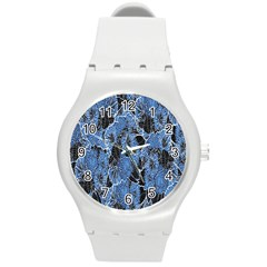 Floral Pattern Background Seamless Round Plastic Sport Watch (m) by Simbadda