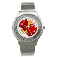 Boxing Gloves Red Orange Sport Stainless Steel Watch by Alisyart