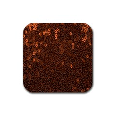 Brown Sequins Background Rubber Square Coaster (4 Pack)  by Simbadda