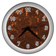 Brown Sequins Background Wall Clocks (silver)  by Simbadda