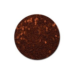 Brown Sequins Background Rubber Round Coaster (4 Pack)  by Simbadda