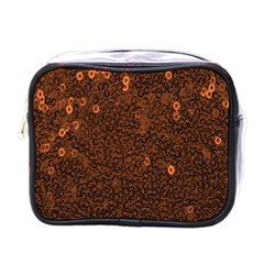Brown Sequins Background Mini Toiletries Bags by Simbadda