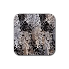 Floral Pattern Background Rubber Coaster (square)  by Simbadda