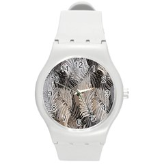 Floral Pattern Background Round Plastic Sport Watch (m) by Simbadda