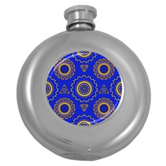 Abstract Mandala Seamless Pattern Round Hip Flask (5 Oz) by Simbadda