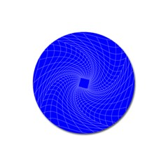 Blue Perspective Grid Distorted Line Plaid Magnet 3  (round) by Alisyart