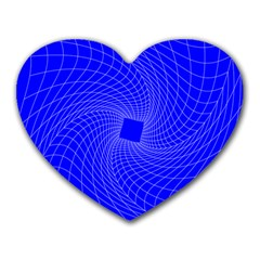 Blue Perspective Grid Distorted Line Plaid Heart Mousepads by Alisyart