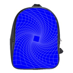Blue Perspective Grid Distorted Line Plaid School Bags(large)  by Alisyart
