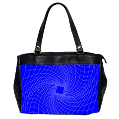 Blue Perspective Grid Distorted Line Plaid Office Handbags (2 Sides)  by Alisyart