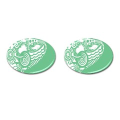 Fish Star Green Cufflinks (oval) by Alisyart