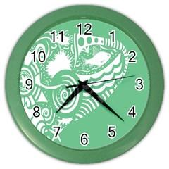 Fish Star Green Color Wall Clocks by Alisyart