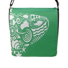Fish Star Green Flap Messenger Bag (l)  by Alisyart