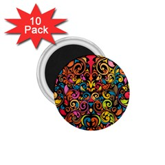 Chisel Carving Leaf Flower Color Rainbow 1 75  Magnets (10 Pack)  by Alisyart