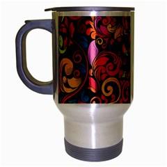 Chisel Carving Leaf Flower Color Rainbow Travel Mug (silver Gray) by Alisyart