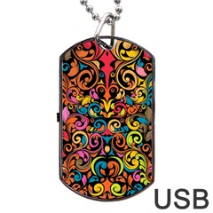 Chisel Carving Leaf Flower Color Rainbow Dog Tag Usb Flash (two Sides) by Alisyart