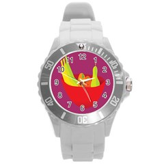Fruitbowl Llustrations Fruit Banana Orange Guava Round Plastic Sport Watch (l) by Alisyart